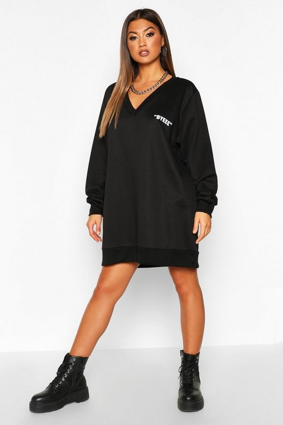 Robe sweat col en V Bye Pocket, Noir, FEMMES