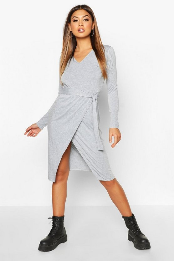 Grey marl Wrap Belted Long Sleeve Midi T-shirt Dress