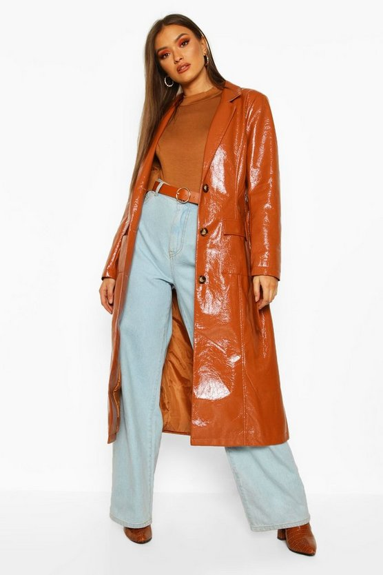Brown PU Belted Trench Coat