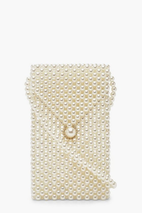 Womens Cream Pearl Foldover Cross Body Bag