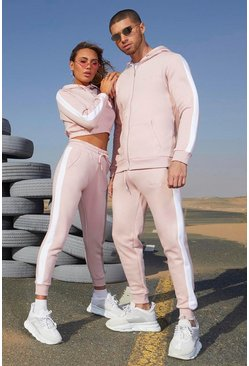 Womens Dusky pink Her Contrast Panelled Crop Hooded Tracksuit