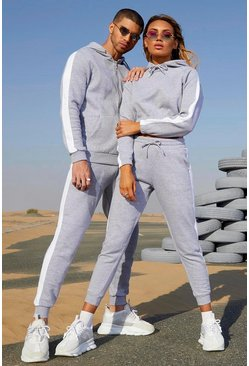Womens Grey marl Her Contrast Panelled Crop Hooded Tracksuit