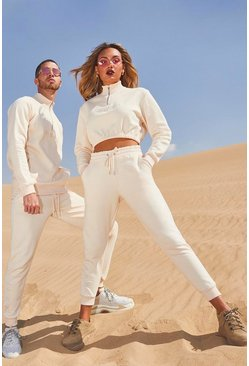 Womens Ecru Her Half Zip Funnel Neck Crop Embroidered Tracksuit