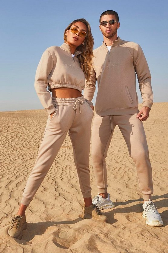 Womens Taupe Her Half Zip Funnel Neck Crop Embroidered Tracksuit