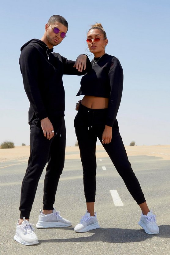 Black Her Crop Embroidered Tracksuit