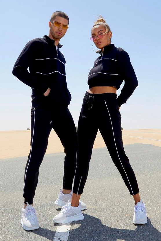 Womens Black Her Half Zip Funnel Neck Crop Tracksuit