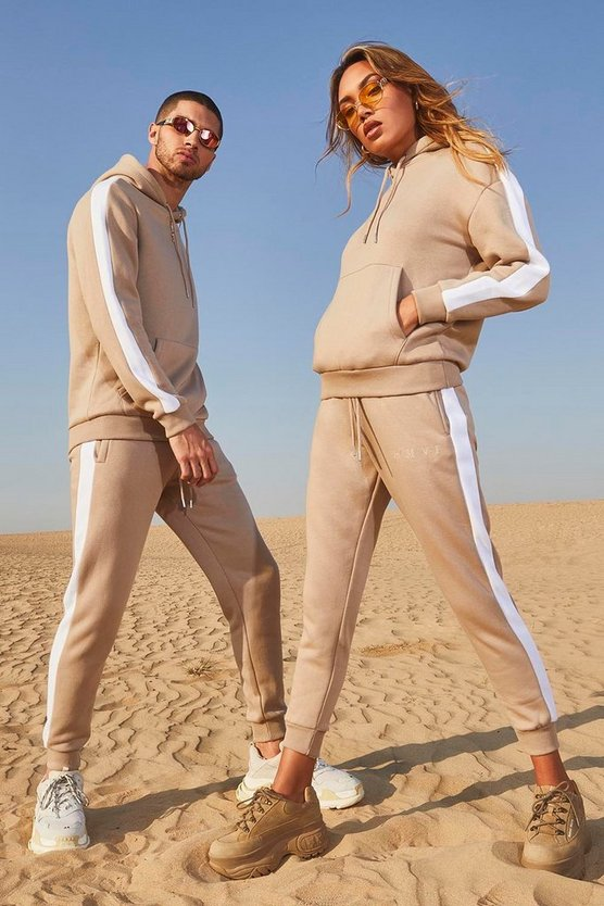 Taupe Her Embroidered Panelled Hooded Tracksuit