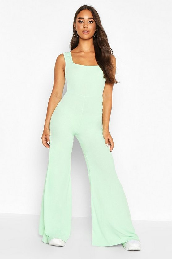 Womens Mint Rib Flare Lounge Jumpsuit