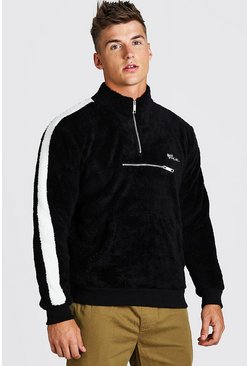 Black MAN Borg 1/4 Zip Sleeve Panel Funnel Neck Top