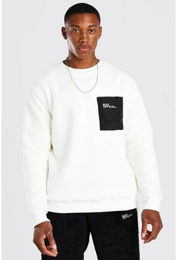 Ecru MAN Borg Sweatshirt With Nylon Pocket