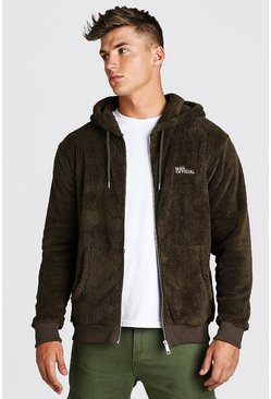 Khaki Official MAN Zip Thru Borg Hoodie
