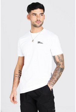 Man Official Chest Embroidered T-Shirt, White
