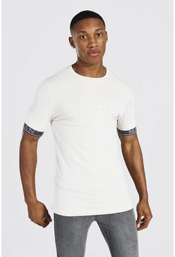 Light stone Muscle Fit MAN Roman T-Shirt With Tape Cuff