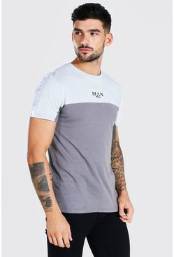 Dark grey MAN Roman Muscle Fit Colour Block Tape T-Shirt