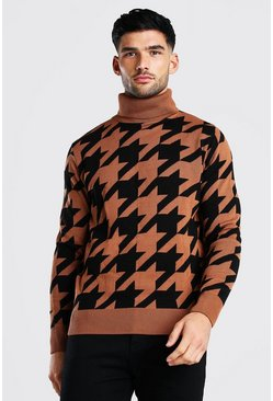 Rust Dogtooth Roll Neck Chunky Jumper