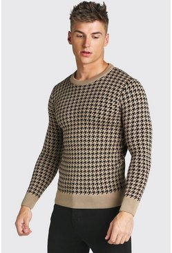 Muscle Fit Dogtooth Crew Neck Jumper, Taupe