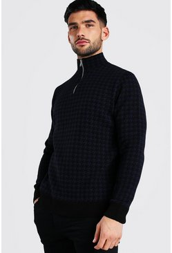 Black Half Zip Dogtooth Knitted Jumper