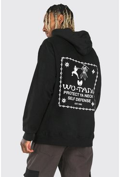 Sweat à capuche oversize Wu-Tang Protect, Noir
