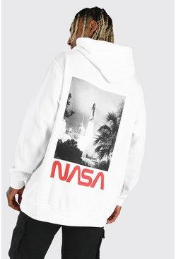 White Oversized NASA Rocket License Hoodie