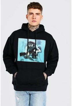 Black Oversized Kurt Cobain License Hoodie