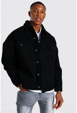 True black Oversized Borg Lined Denim Jacket