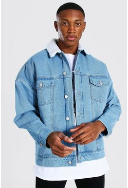 Light blue Oversized Borg Lined Denim Jacket