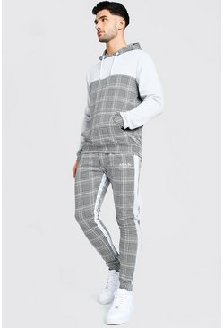 Grey MAN Roman Tape Jacquard Colour Block Tracksuit