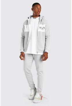MAN Roman Colour Block Zip Hooded Tracksuit, Light grey