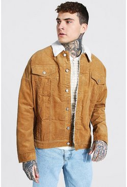 Tan Oversized Borg Collar Cord Jacket