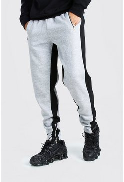 Skinny Fit Jogger Wide Side Stripe And Zip, Grey marl