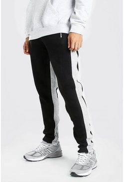 Skinny Fit Jogger Wide Side Stripe And Zip, Black