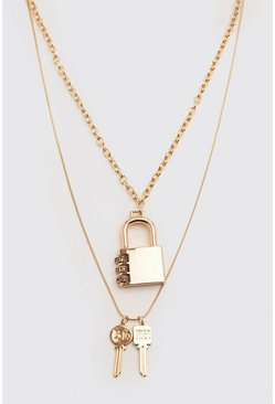 Padlock And Key Double Layer Chain, Gold