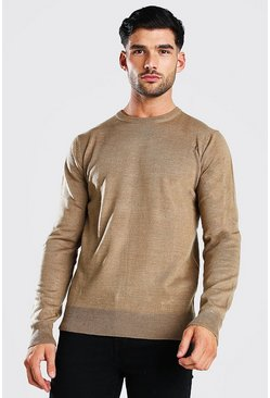 Beige Basic Crew Neck Jumper
