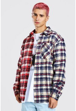 Red Oversized Contrast Check Shirt With Paint Splatter
