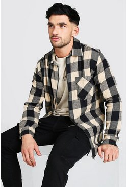Zip Through Camel Check Shirt