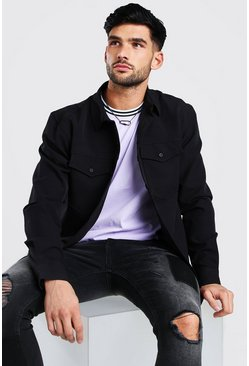 Black Smart Utility Shirt Jacket