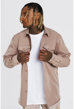 Taupe Smart Utility Overshirt