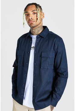 Navy Regular Fit Double Cargo Pocket Shirt Jacket