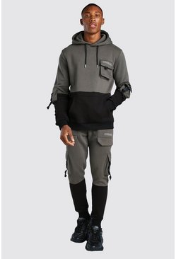 Official Colour Block Utility Tracksuit With Buckle, Khaki