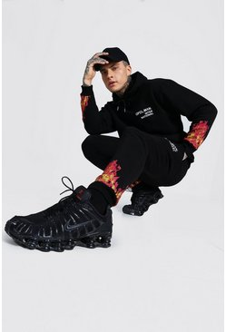 Black Official MAN Flame Print Tracksuit