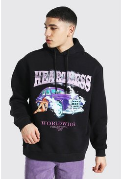 Black Oversized Heartless Car Graphic Hoodie