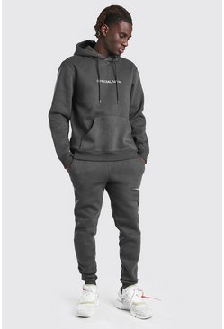 Dark grey Official MAN Tape Hooded Tracksuit