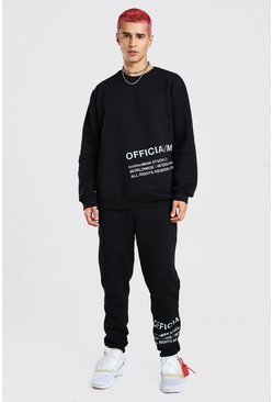 Loose Fit Sweater Tracksuit With Reflective Print, Black
