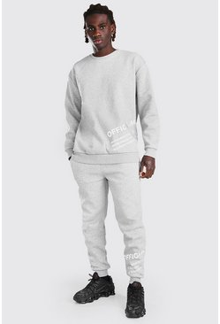 Loose Fit Reflective Print Sweater Tracksuit, Grey marl