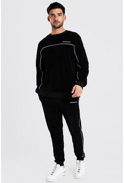 MAN Velour Sweater Tracksuit With Piping, Black