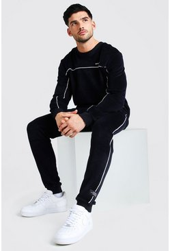 MAN Velour Sweater Tracksuit With Piping, Navy