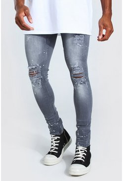 Washed black Super Skinny Busted Knee Bleach Splater Jean