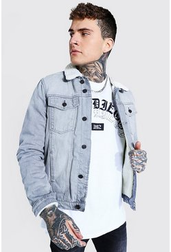 Regular Fit Fully Borg Lined Denim Jacket, Ice