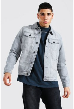 Ice grey Regular Fit Western Denim Jacket