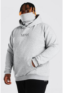 Grey Plus Size MAN Dash Snood Hoodie